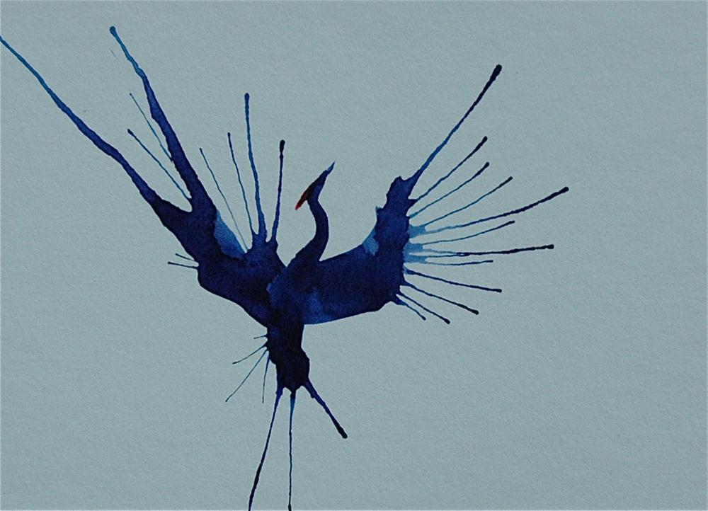 """Blue crane spreading his wings - 2"" original fine art by Ulrike Schmidt"