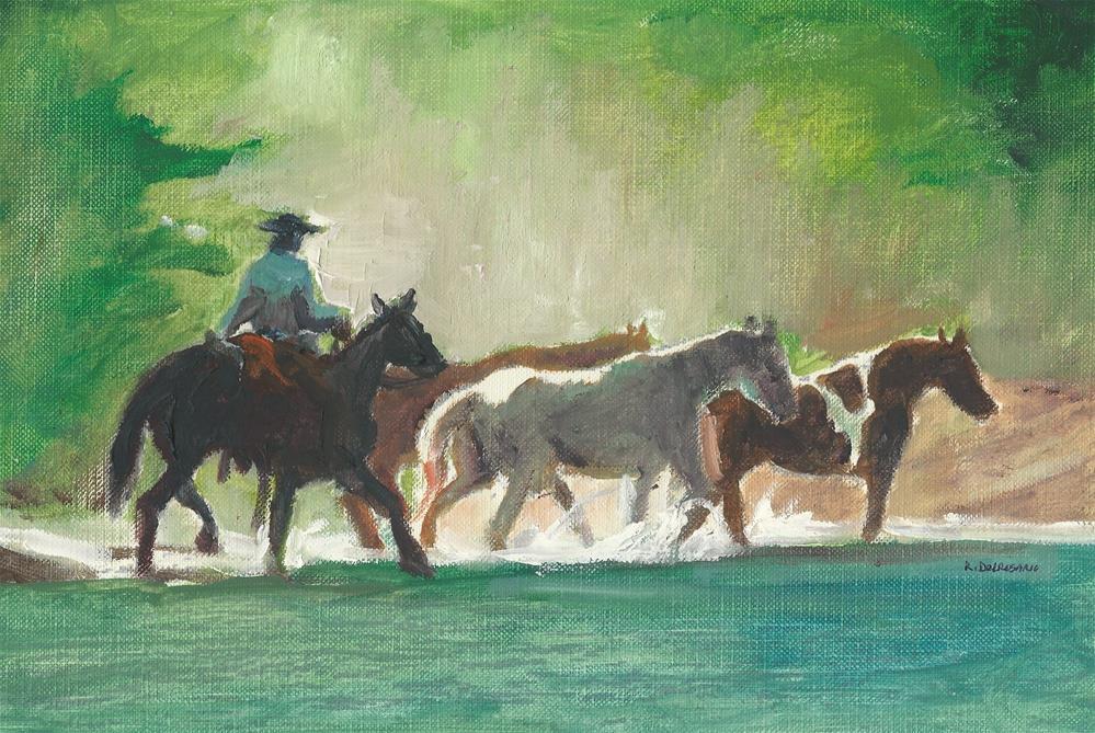 """The River Edge (9.5 x 6.5 Oil on canvas sheet - no frame)"" original fine art by Ramon DelRosario"