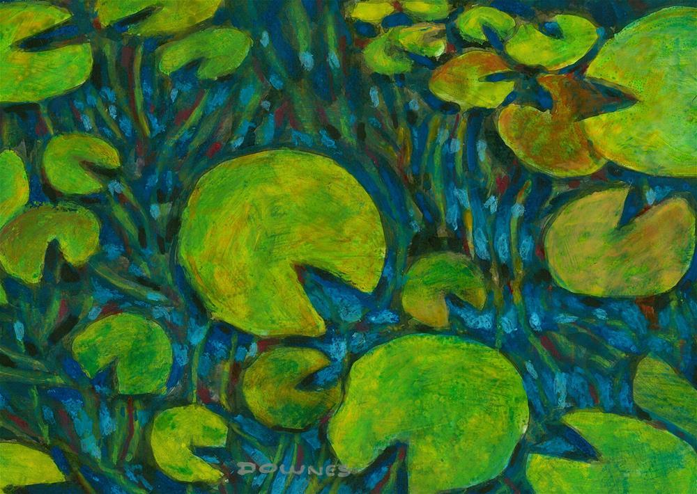 """351 WATERLILLY 9"" original fine art by Trevor Downes"