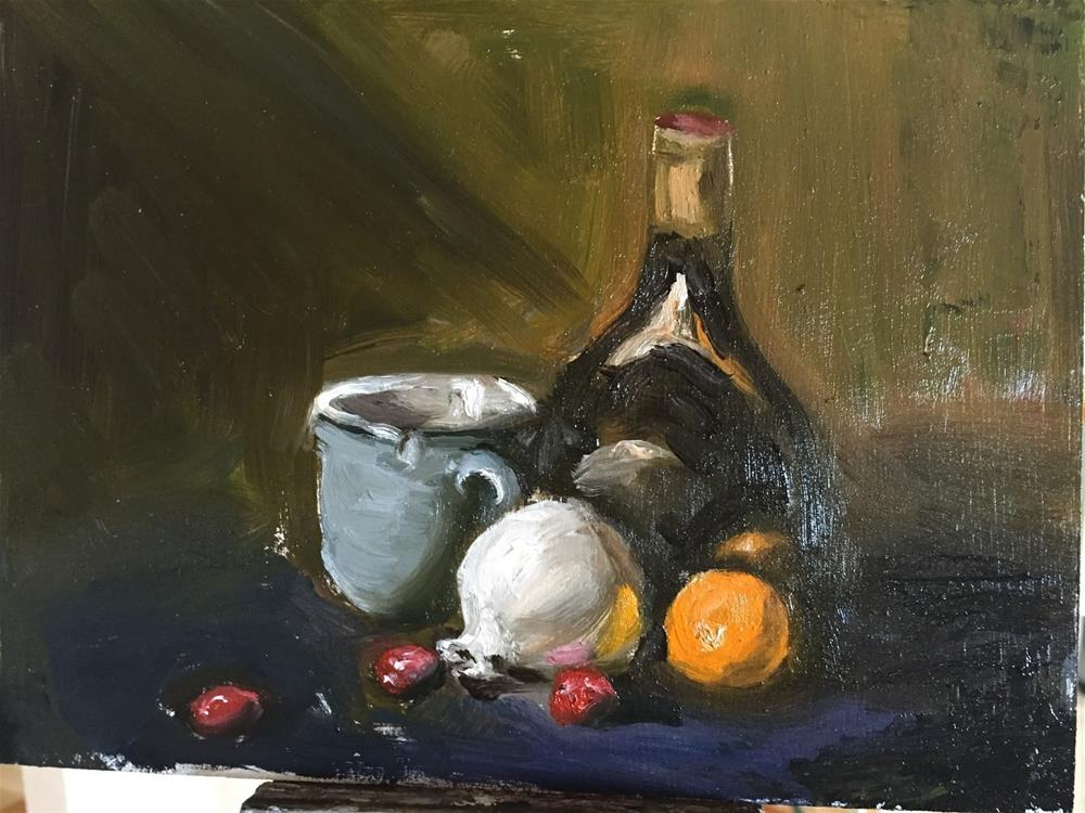 """Blue Coffee Cup and Tangerine"" original fine art by Rick Blankenship"