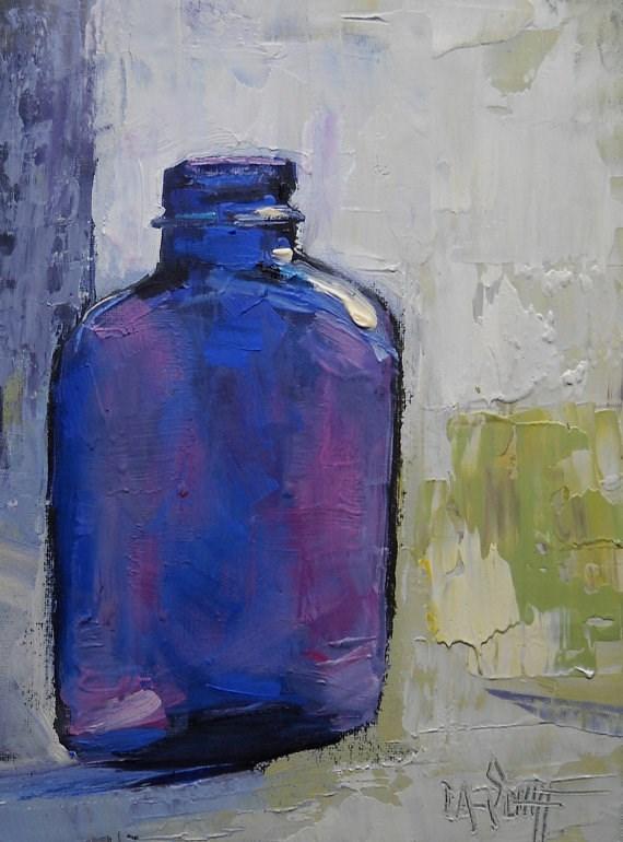 """Art Sale | Daily Painting | Bottle Painting | Vintage Blue Bottle by Carol Schiff"" original fine art by Carol Schiff"