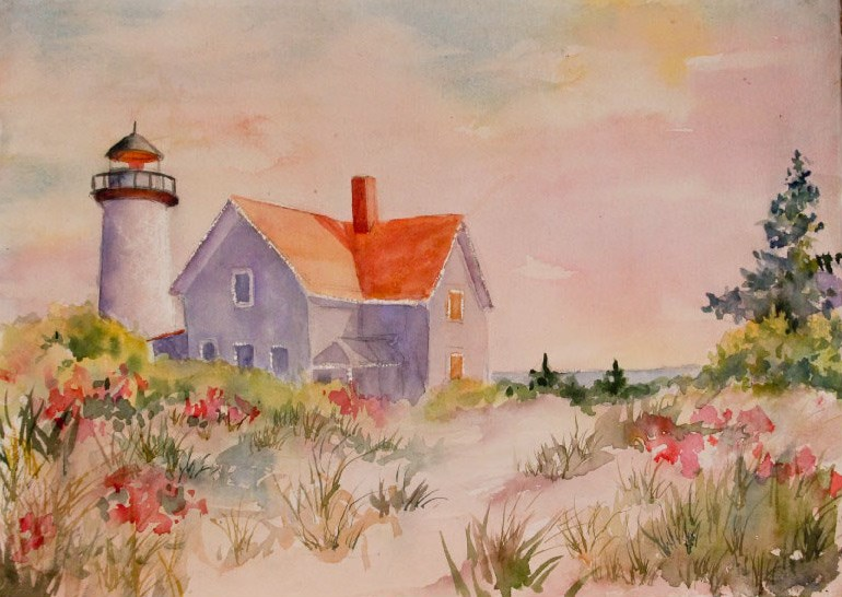 """Summer Lighthouse"" original fine art by Sue Dion"