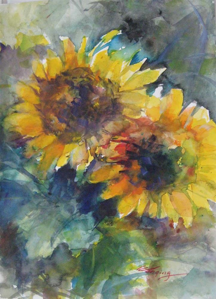 """SUNFLOWER IN JUNE-4"" original fine art by Wenqing Xu"