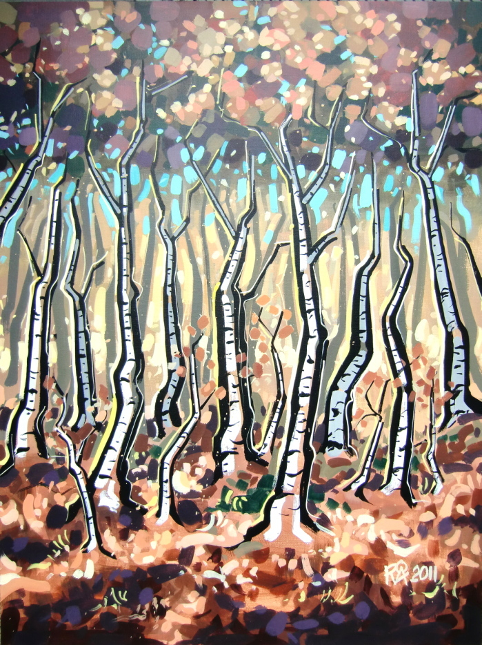 """Birch Trees 8"" original fine art by Roger Akesson"