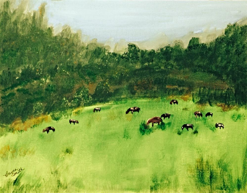 """Grazing Cows"" original fine art by Brenda Smith"