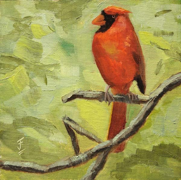 """Cardinal Perch"" original fine art by Jane Frederick"