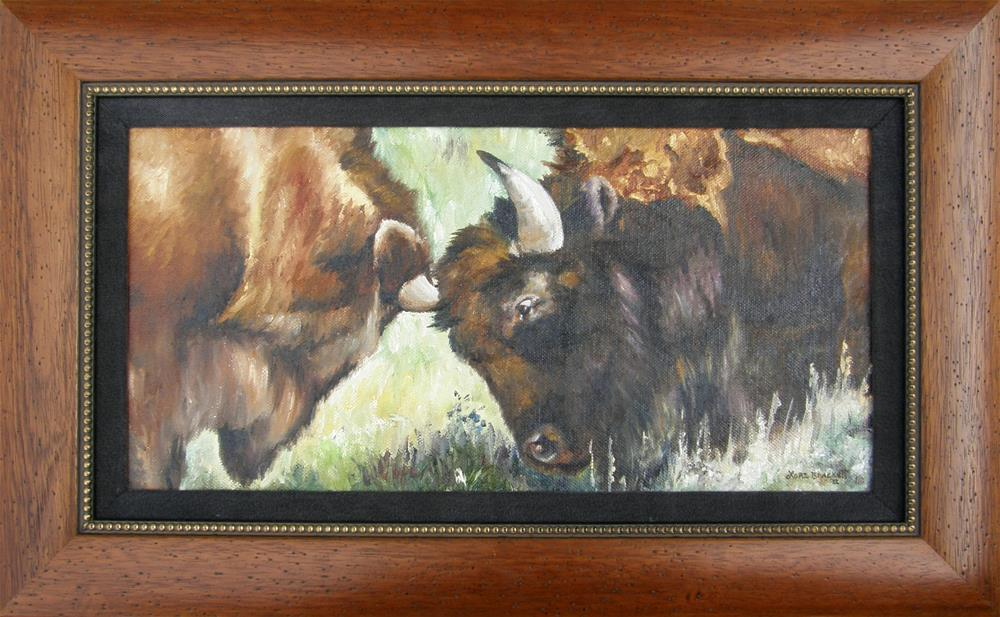 """Bison Brawl"" original fine art by Lori Brackett"