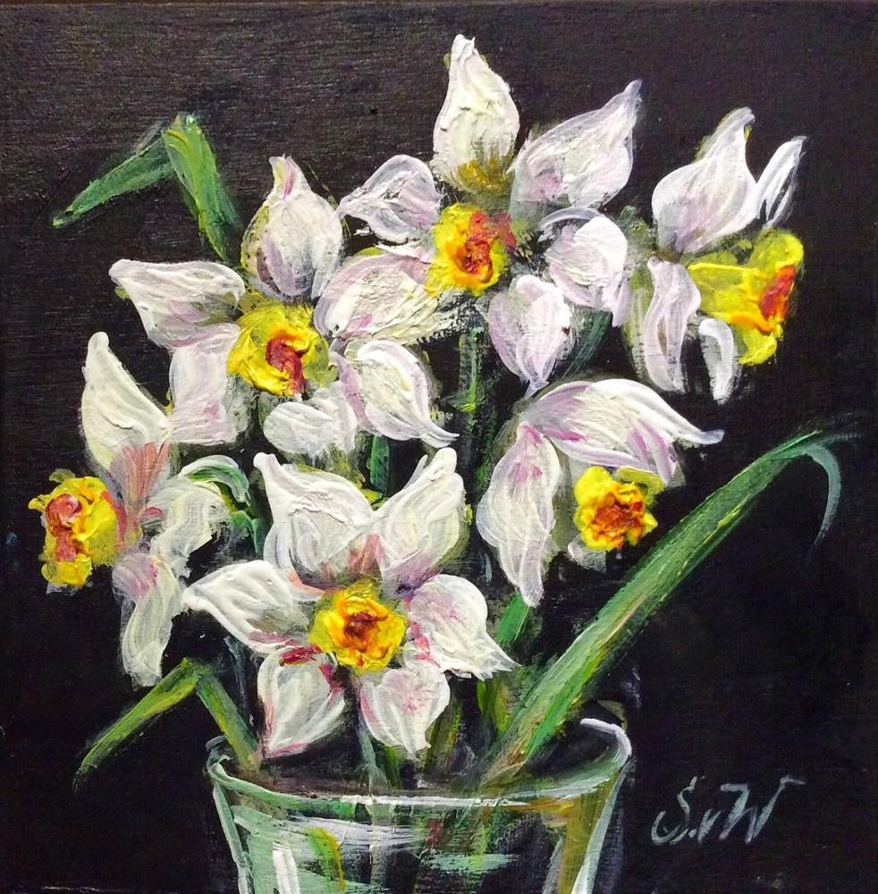 """Daffodils still life painting"" original fine art by Sonia von Walter"
