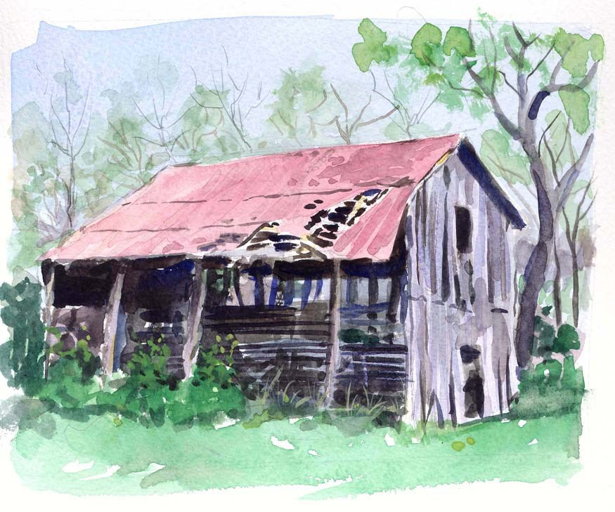 """Barn off Wilson Pike in Brentwood TN"" original fine art by Chris Ousley"