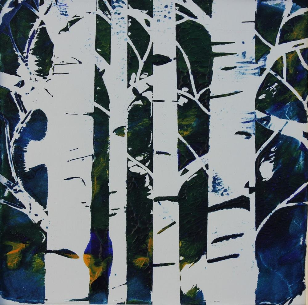 """Birch Trees, Contemporary Monoprint by Amy Whitehouse"" original fine art by Amy Whitehouse"