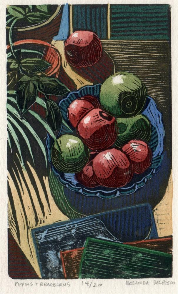 """Linocut: Pippins & Braeburns (& Hilary Paynter's wood engravings)"" original fine art by Belinda Del Pesco"