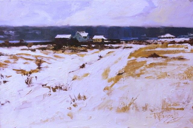 """Whidby Island Snowfield plein air landscape painting by Robin Weiss"" original fine art by Robin Weiss"