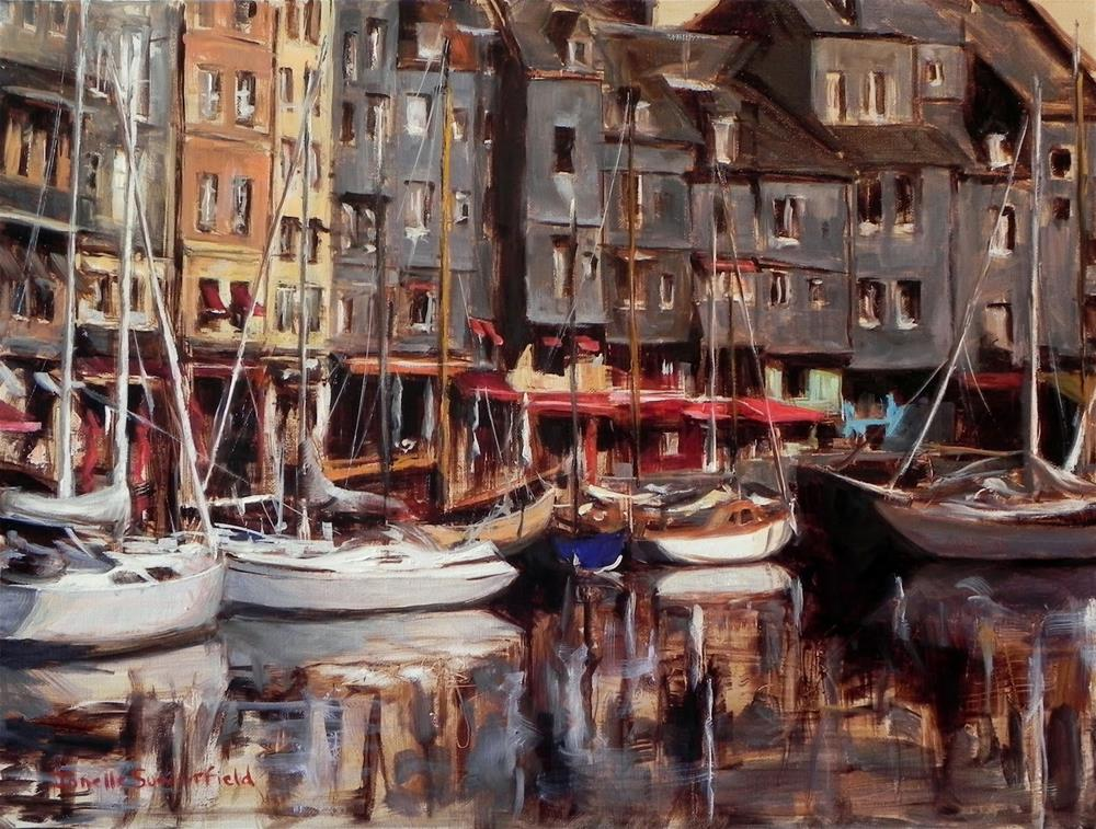 """Honfleur Boats II"" original fine art by Jonelle Summerfield"