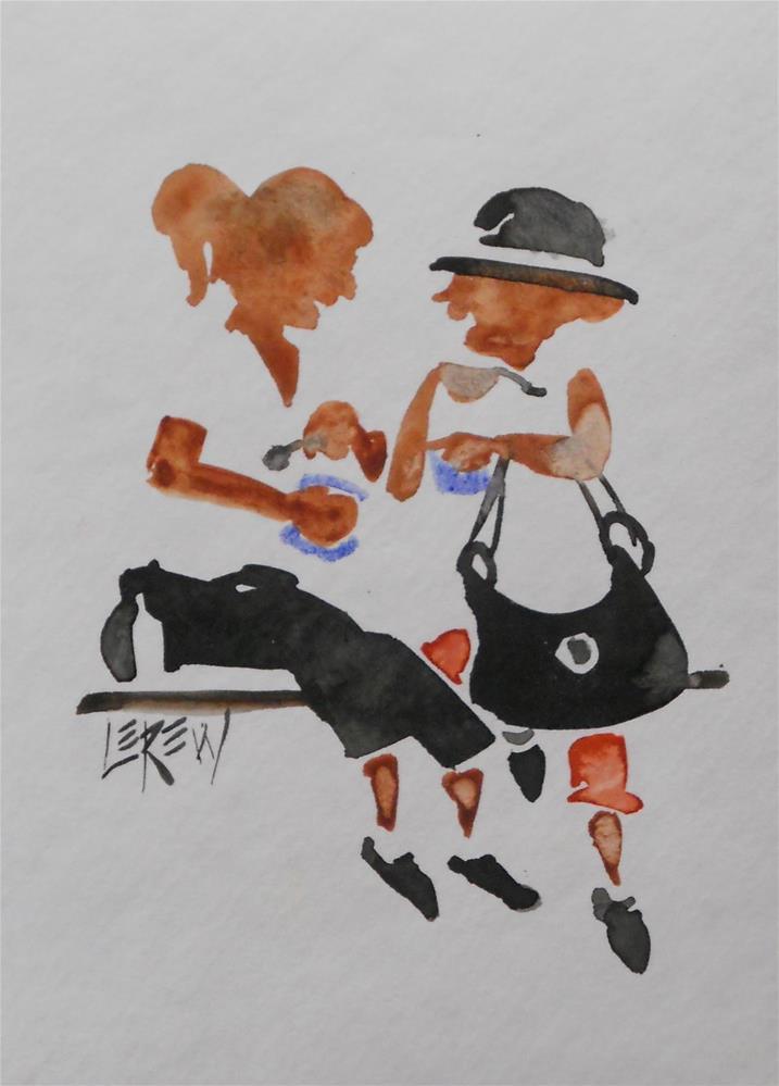 """Serendipity Blot Figure Sketch #13-07-16"" original fine art by Larry Lerew"