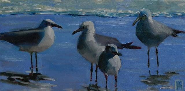 """Gulls II 6x12 inch Oil on Canvas"" original fine art by Kelley MacDonald"
