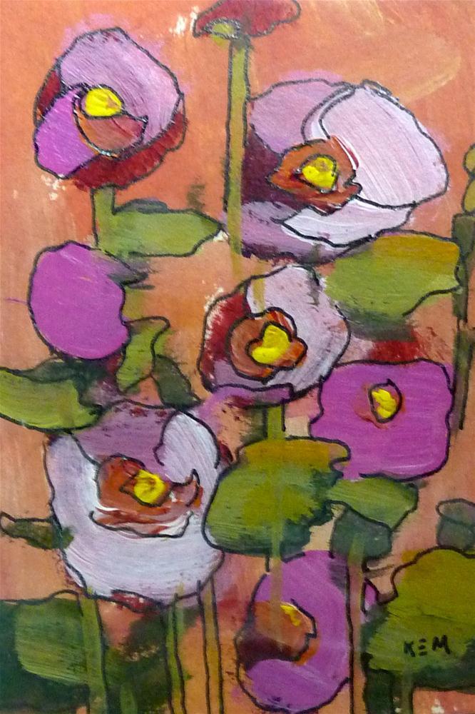 """Hollyhocks I"" original fine art by Karen Margulis"