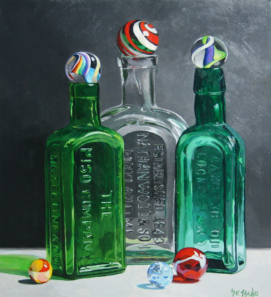 """Glass Bottles"" original fine art by Setsuko Lawson"