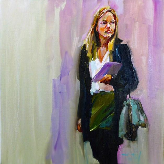 """Die Frau mit dem Buch"" original fine art by Jurij Frey"
