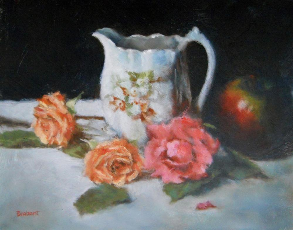 """White Pitcher with Apple"" original fine art by Jill Brabant"
