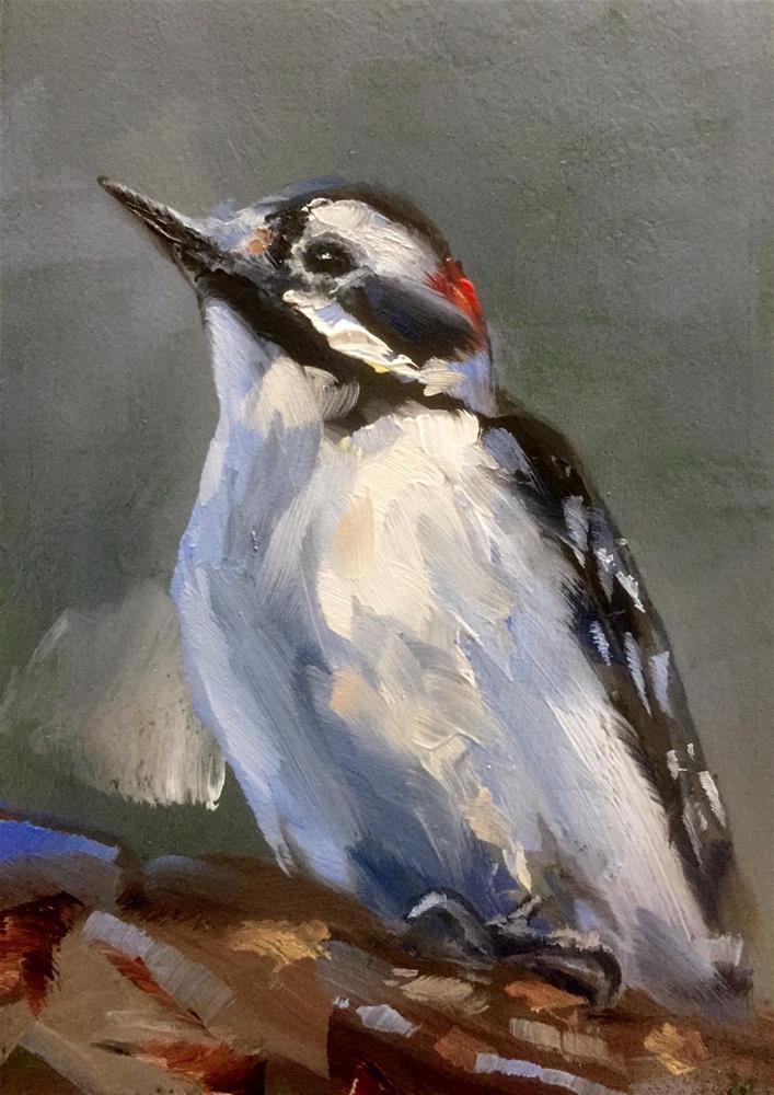 """Downy Woodpecker"" original fine art by Gary Bruton"