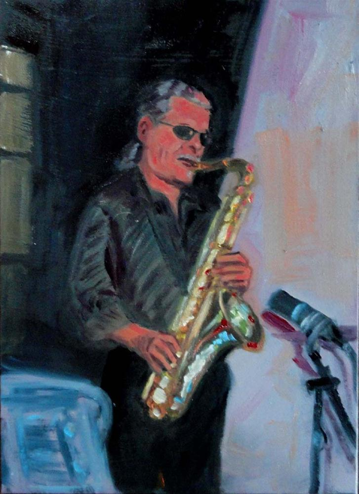 """Humboldt Time (The Sax Player #1)"" original fine art by Cietha Wilson"