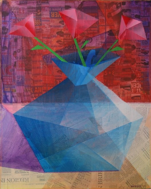 """Mark Webster - Roses in a Translucent Blue Vase - Mixed Media on Stretched Canvas"" original fine art by Mark Webster"
