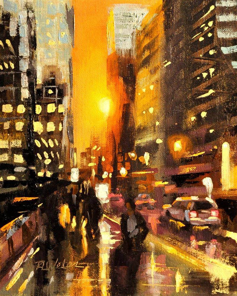 """""""City Sunset"""" original fine art by Rl Weber"""