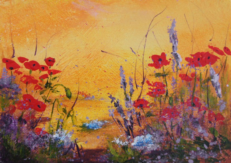 """Garden Poppies  miniature treasure acrylic painting"" original fine art by Marion Hedger"