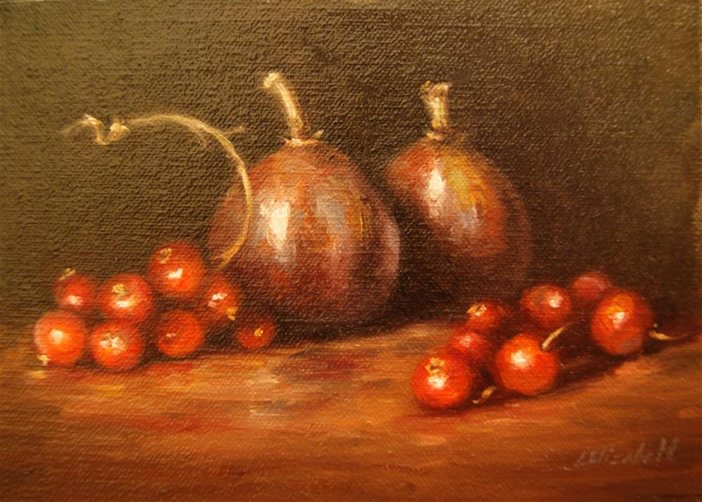 """Figs and Red Currants,  Oil on 5x7 Linen Panel"" original fine art by Carolina Elizabeth"