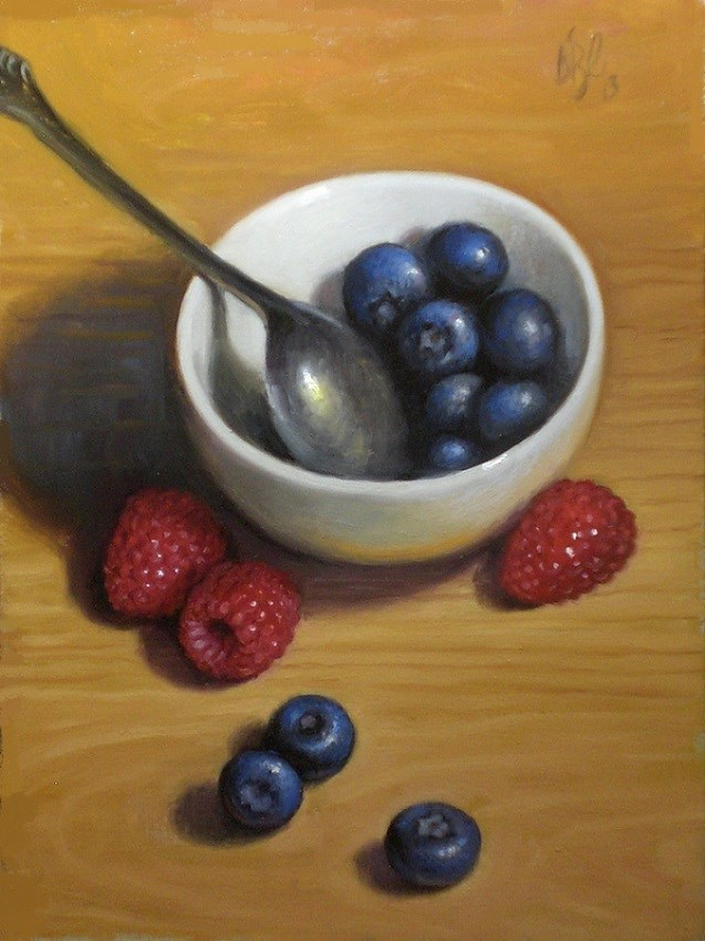 """Blueberries and Raspberries"" original fine art by Debra Becks Cooper"
