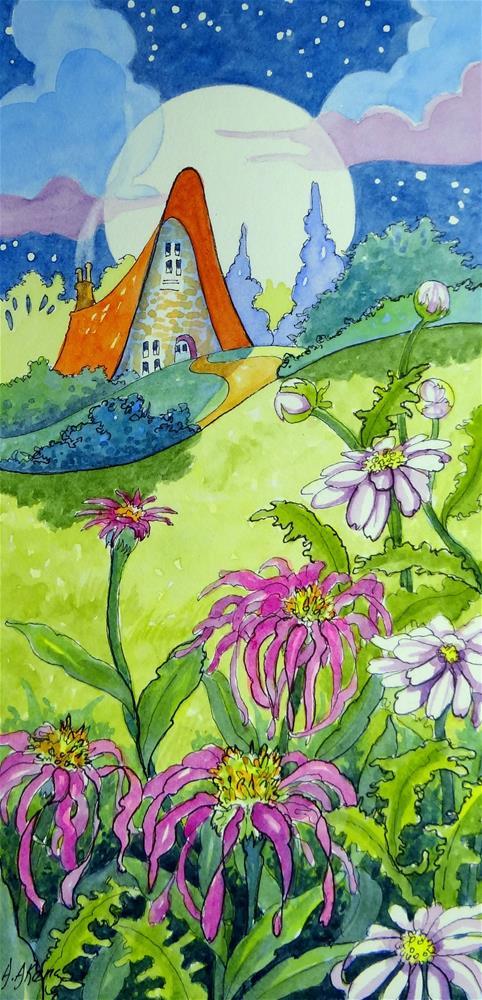 """Summer Moon Storybook Cottage Series"" original fine art by Alida Akers"