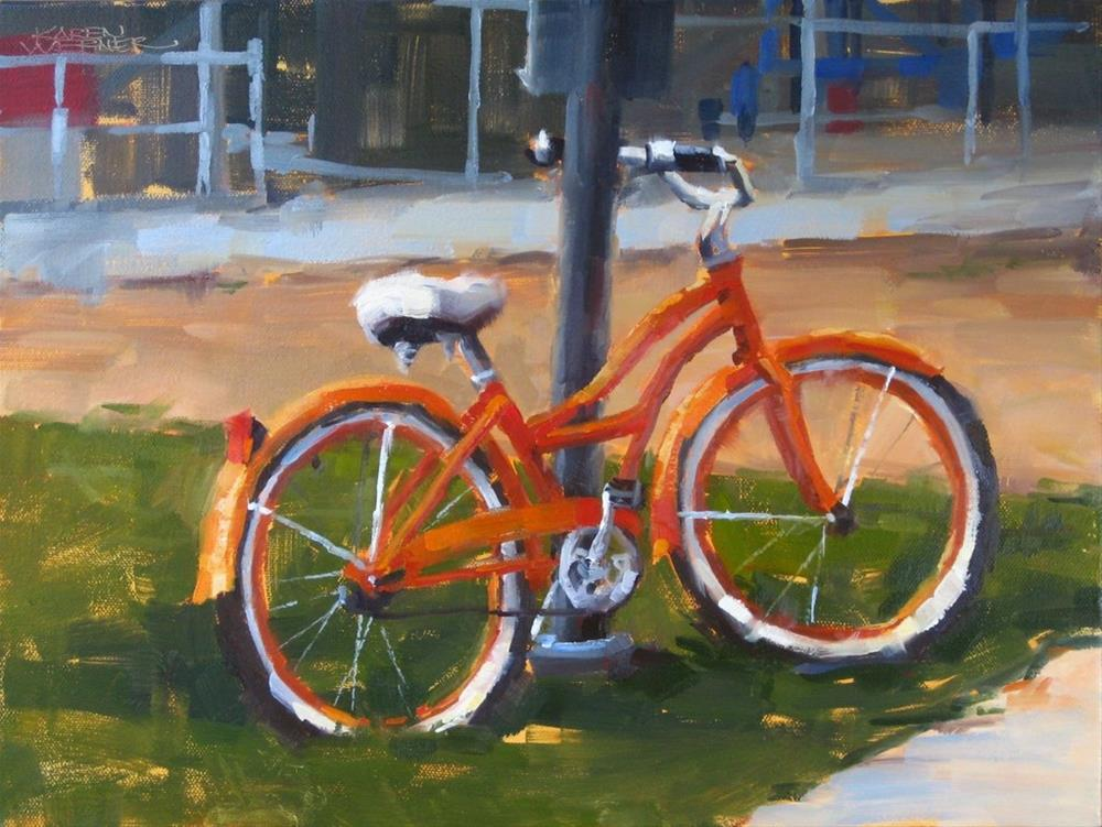 """Orange Bike"" original fine art by Karen Werner"