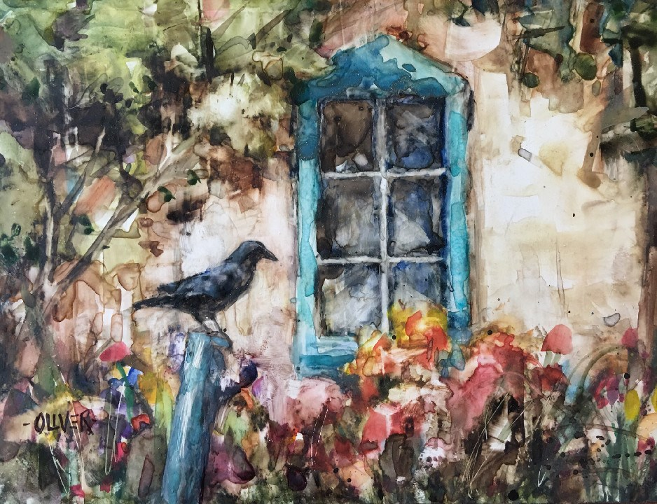 """Waiting - watercolor on Yupo"" original fine art by Julie Ford Oliver"