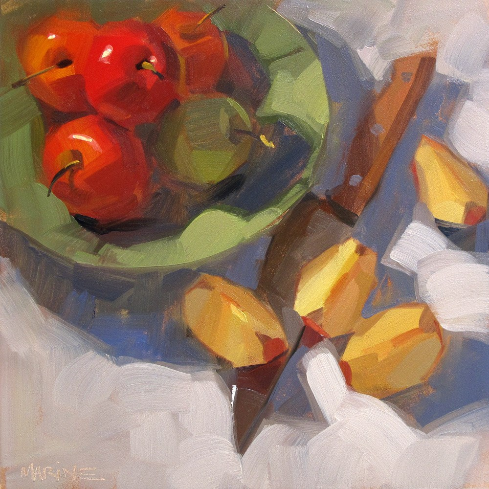 """Apples, Cut and Uncut"" original fine art by Carol Marine"