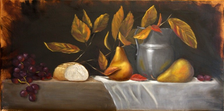"""Bread and Pewter Pitcher"" original fine art by Mary Datum"