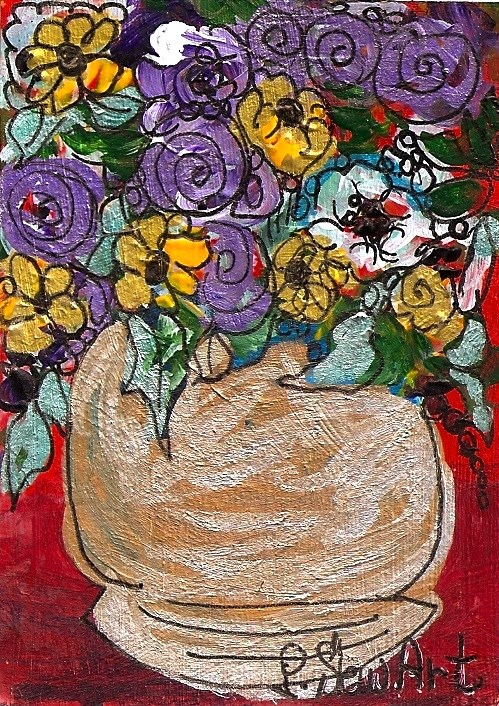 """ACEO, Fantasy Floral Boquet in a Silver Pot Mixed Media, Acrylic, Pen, Liner"" original fine art by Penny Lee StewArt"