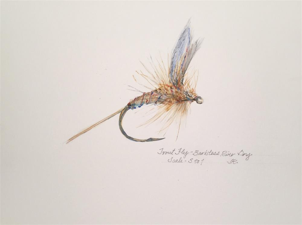 """Trout Fly - Barbless River Dry"" original fine art by Jean Krueger"
