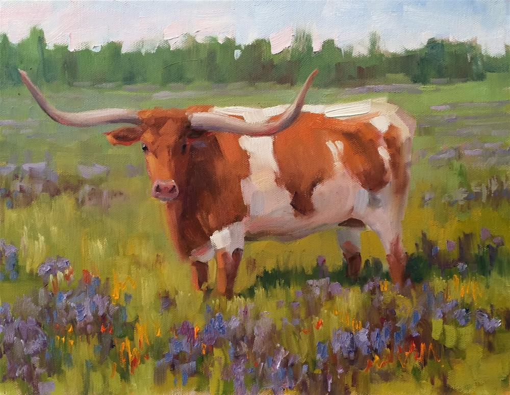 """Bevo #2"" original fine art by Deborah Newman"