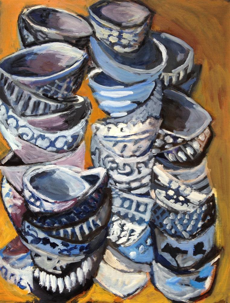 """Piles of Bowls"" original fine art by Pamela Hoffmeister"