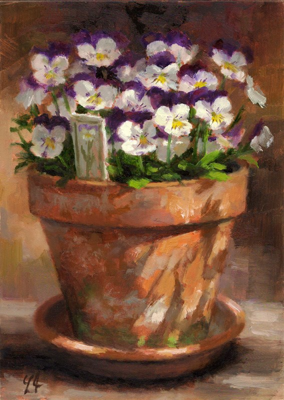 """Violas Full Bloom"" original fine art by Linda Jacobus"