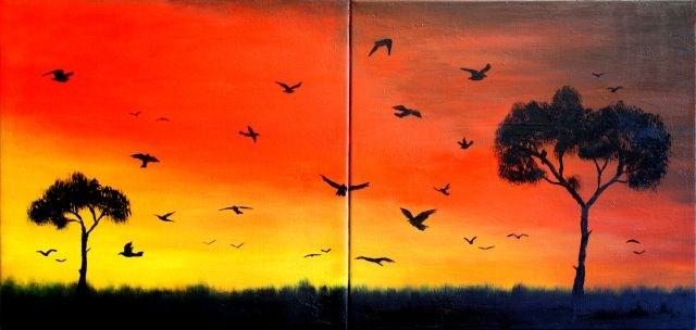 """Sunset Flock of Birds 01"" original fine art by Dave Casey"
