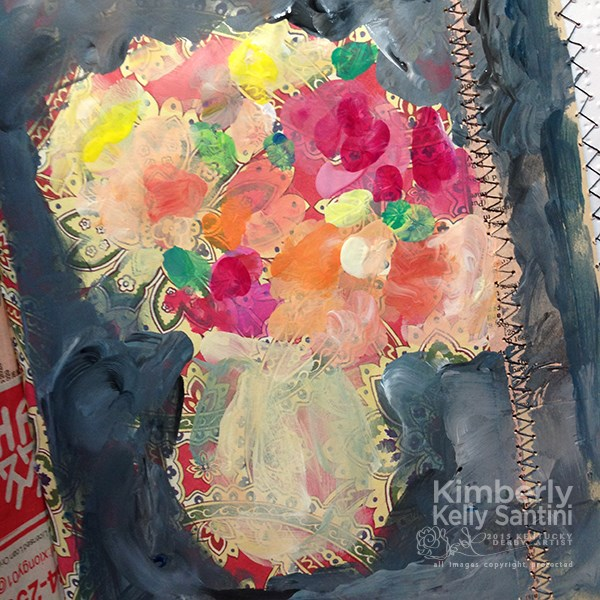"""I'm Fingerpainting in my Art Journal"" original fine art by Kimberly Santini"