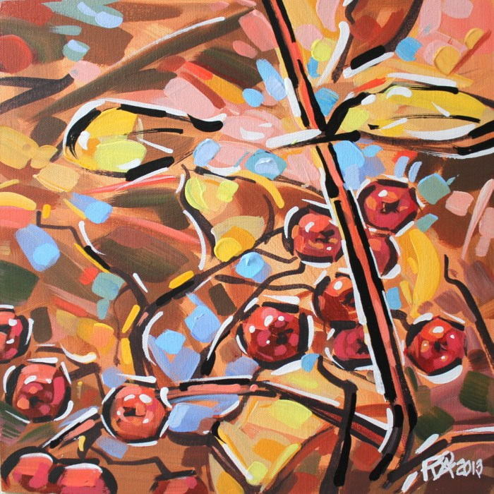 """Autumn Berries 7"" original fine art by Roger Akesson"
