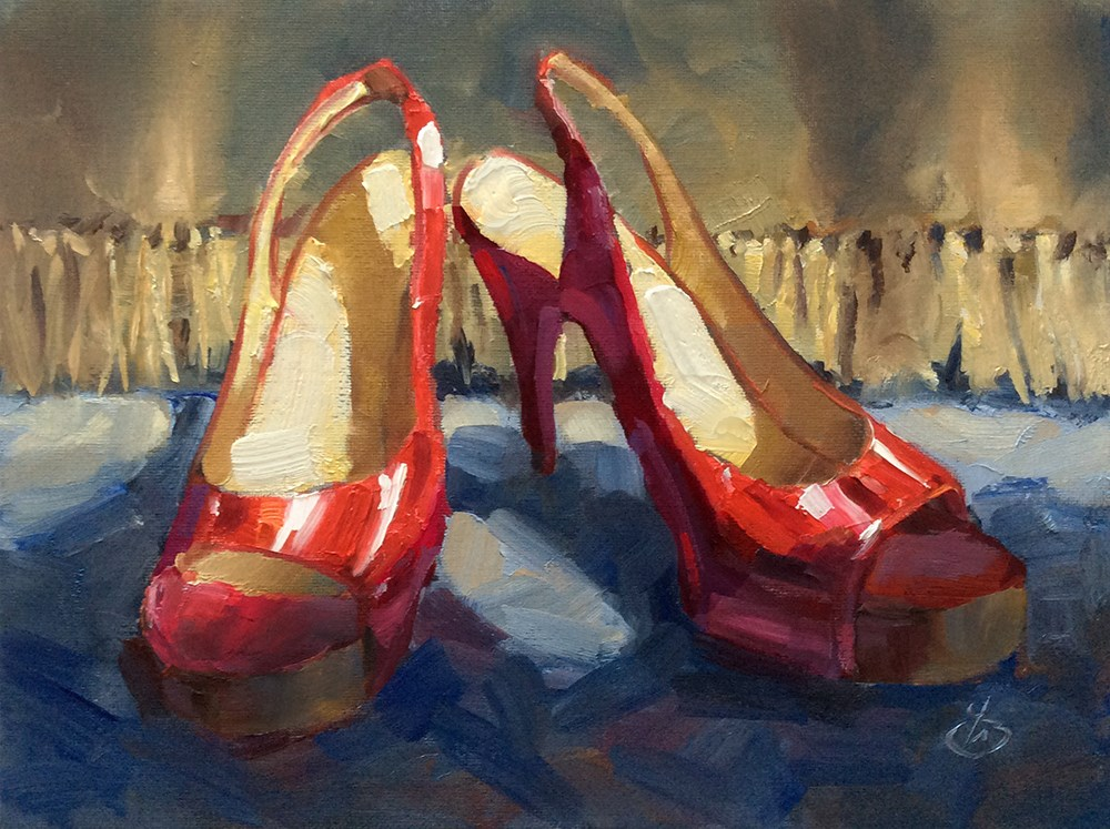 """RED SHOES"" original fine art by Tom Brown"