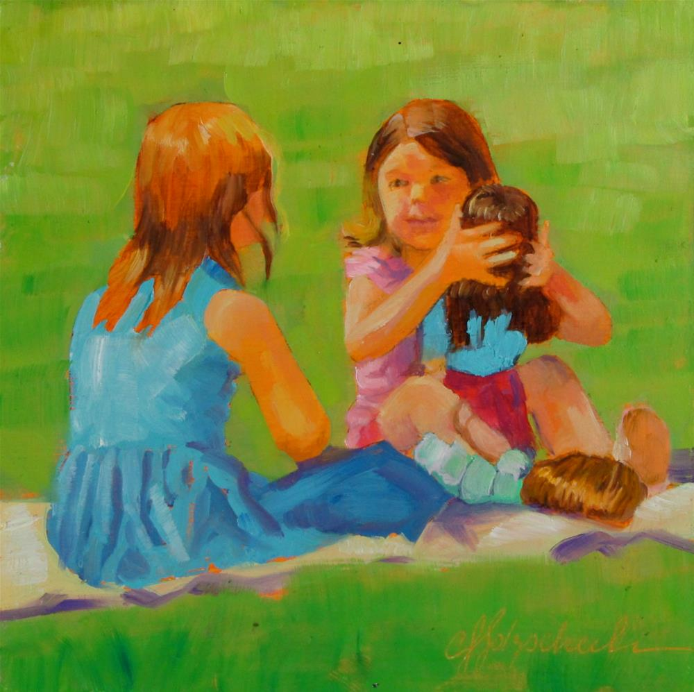 """Little Mothers"" original fine art by Christine Holzschuh"