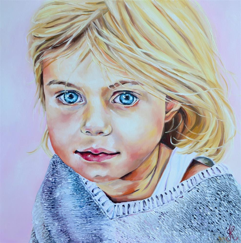 """Blue eyed girl"" original fine art by Jacinthe Rivard"