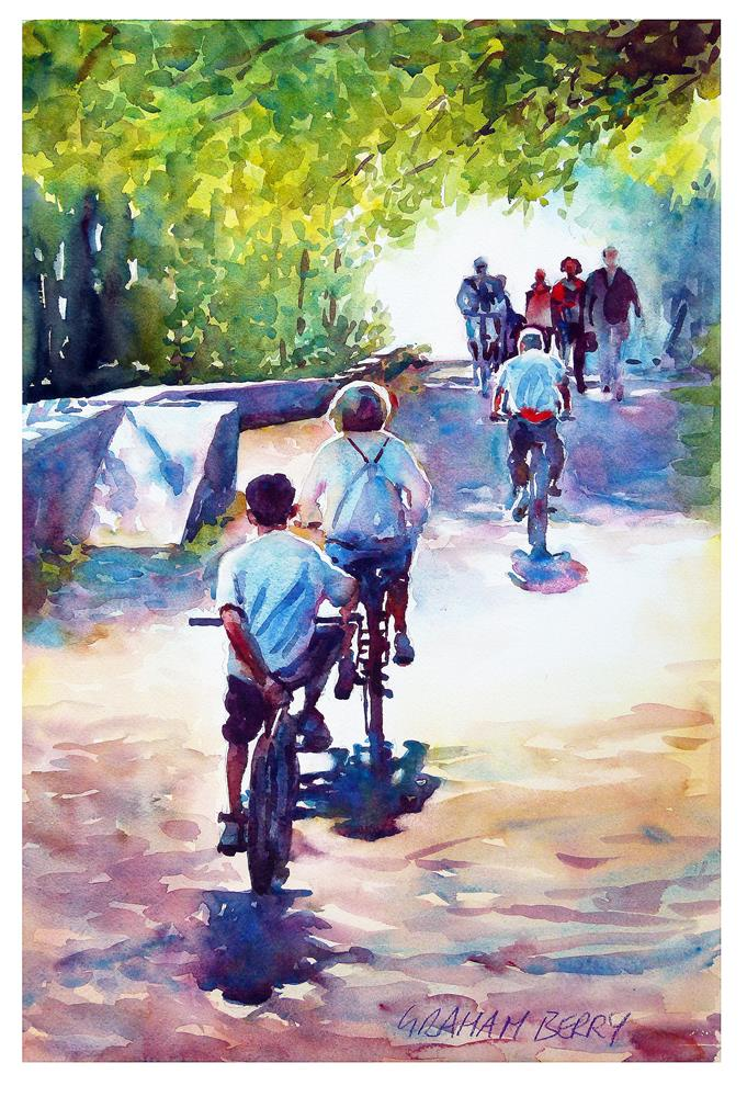 """Cycling on the towpath"" original fine art by Graham Berry"