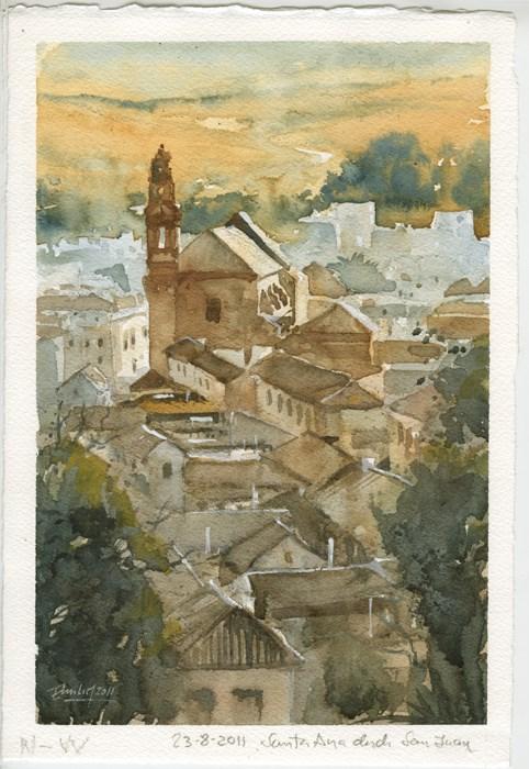 """""""Iglesia"""" original fine art by Emilio López"""
