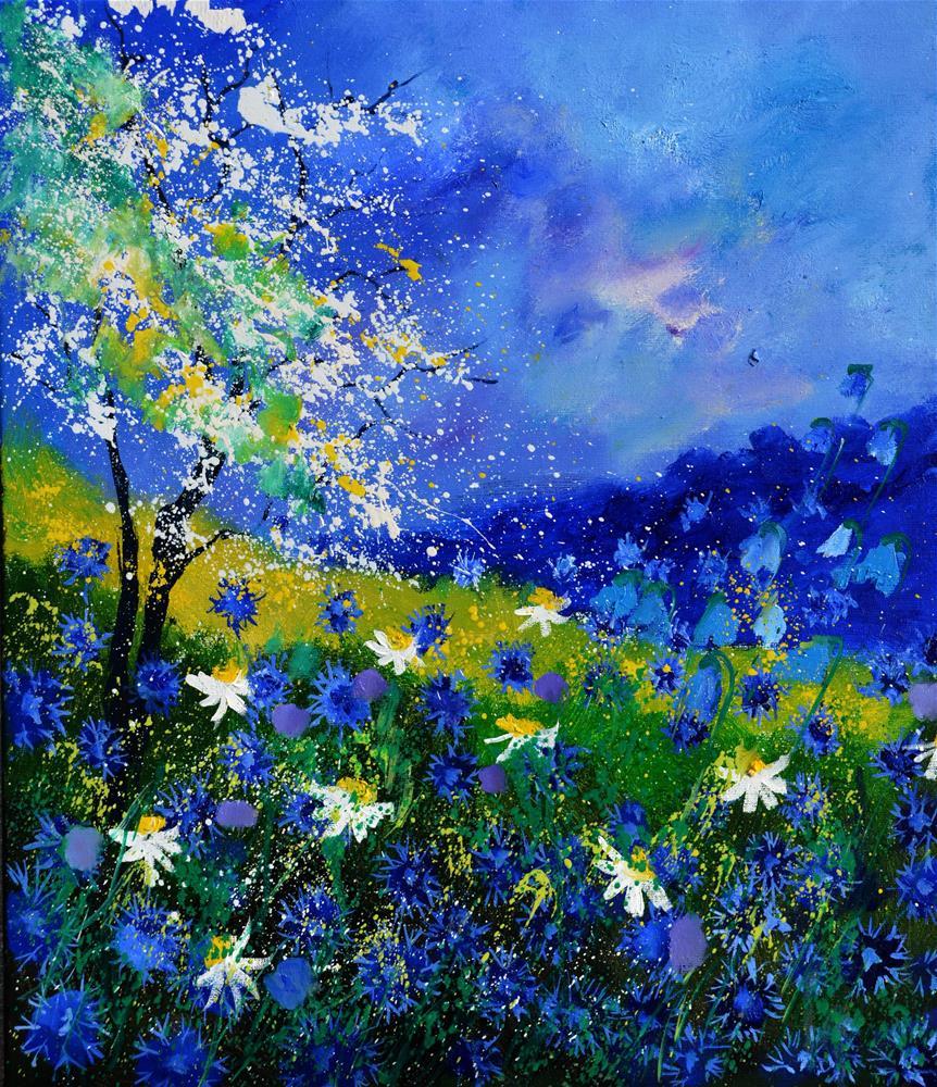 """wild blue flowers"" original fine art by Pol Ledent"