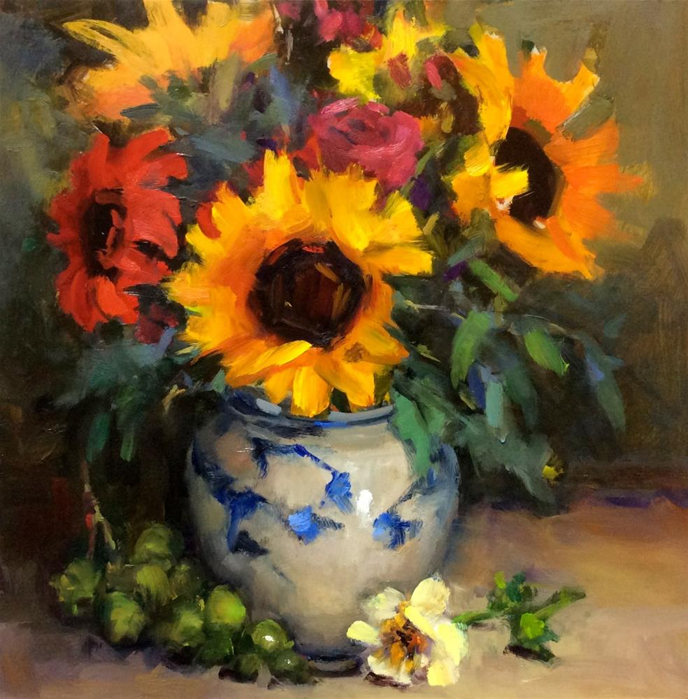 """Love Affair with Sunfowers"" original fine art by Laurie Johnson Lepkowska"